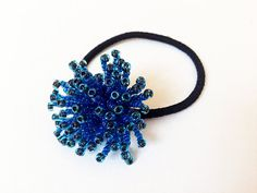 Hair accessory sea blue beads ponytail by Keikonoheya on Etsy, $12.00