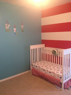 Dr. Seuss inspired! This is what i.plan to do to the walls except, darker different blue with cat and the hat decals on them
