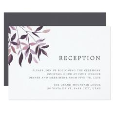 Harvest Blush   Watercolor Foliage Reception Card Custom Office Party Invitations #office #partyplanning