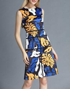 Floral Print Sleeveless O Neck Dress