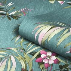 Belgravia Decor Botanique Teal/ Multi Wallpaper - WL-3420 Green Leaf Wallpaper, Teal Wallpaper, How To Hang Wallpaper, Tropical Wallpaper, Glitter Wallpaper, Paper Wallpaper, Teal Color Schemes, Casamance, Teal Background