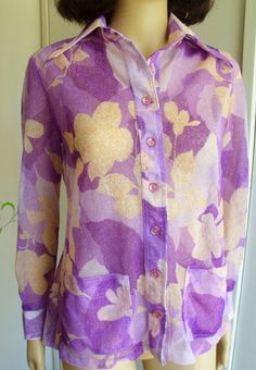 Vintage 1970s Sheer Disco Shirt Purple With by VaylaRoseVintage