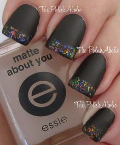 The PolishAholic: NOTD: Flakie French Manicure - nail art, Finger Paints: Twisted is on the tips and a matte topcoat was applied Get Nails, Love Nails, How To Do Nails, Pretty Nails, Hair And Nails, Funky Nails, Nail Pops, Matte Nail Polish, Black Nails