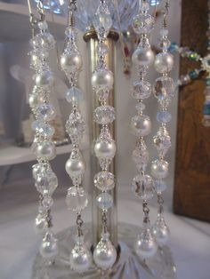 SALE White Pearl Christmas Ornament Dangles Christmas Dangles Chandelier Crystals Hostess Gift Ideas
