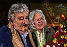 Caricatura Jose pepe mujica y lucia topolansky By Búho Design & Caricatiras Uruguay  http://www.buhodesign.com.uy/ http://www.caricaturasuruguay.com.uy/