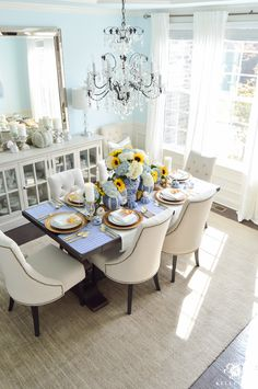 blue-and-white-thanksgiving-table-idea-with-sunflowers-and-hydrangeas-16-of-21