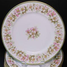 Antique French Elite Limoges Set of 6 Dinner Plates Plate White Pink Blossoms #EliteLimoges