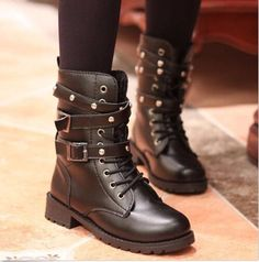 cc79b82f1cb876 Womens Lace Up Punk Motorcycle Biker Military Army Combat Flat Ankle Boots  Shoes