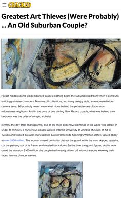 In 1985, the day after Thanksgiving, one of the most expensive paintings in the world was stolen. In under 15 minutes, a mysterious couple walked into the University of Arizona Museum of Art in Tucson and walked out with impressionist painter Willem de Kooning's Woman-Ochre, valued today at over $160 million. The woman stayed behind to distract the guard while the man skipped upstairs, cut the painting out of its frame, and mosied back down. #mystery #art #theft #history