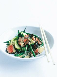 Donna Hay peanut beef with bok choy and beans