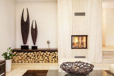 Tremendous Built In Fireplace Modern Design Image Collection: Lovely Gas Built In Fireplace With Wooden Wall Panels As Well As Artwork On Built In Shelves And Log Wood Base Decor In Modern Living Room Furnishing Ideas Contemporary Fireplace Designs, Contemporary Interior, Contemporary Stairs, Contemporary Cottage, Kitchen Contemporary, Contemporary Apartment, Contemporary Chandelier, Contemporary Landscape, Contemporary Architecture