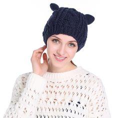 2017 New Cat Ears Women Crochet skullies beanies Girls Winter Beret Cap Hat  Casual Female Hats 0496da9e8b3f
