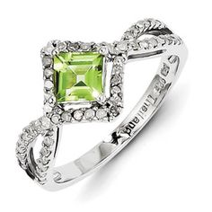 Parker Jewelers. Sterling Silver Diamond and Peridot Ring. (QR3093PE) Call (856)935-3400 to order today!