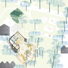 site plan / isometry / blue / light colors / Montpelier Community Nursery by AY Architects