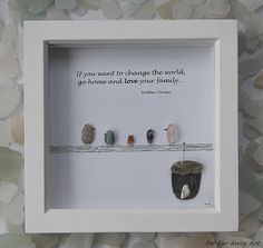 Pebble Art, Family Quote, Family of Five, Family Gift, Birthday Gift, Family Bond, Family Love, Gift for Mum, Gemstone Picture, Rebecca Kate