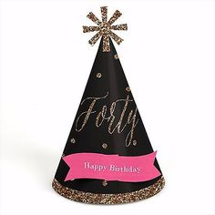 Chic #pink, black & gold 40th #birthday - cone #birthday #party hats - set of 8,  View more on the LINK: http://www.zeppy.io/product/gb/2/181830774352/