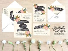 The Anne Suite, from the Printable Wisdom Design wedding invitation collection. This rustic hand-crafted designs most stand-out feature is its