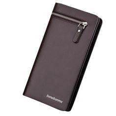 Wallet Man Leather Long Zipper Bifold Business Id Credit Card Holder Wallet Coin Purse Portafoglio Uomo #135