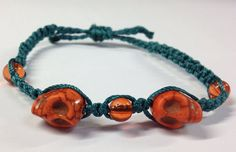 Halloween Skull Micromacrame Bracelet  Orange hand green by JJJCrafts, $13.00
