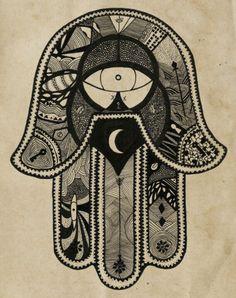 hamsa/hand of fatima: provides defense against the evil eye represents blessings, power and strength. Tatouage Hamsa, Hamsa Tattoo, Tarot Rider Waite, Psy Art, Hand Of Fatima, Tumblr, Hamsa Hand, Hand Henna, Sacred Geometry