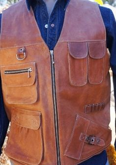 Perfect by ManEatYak on Etsy Steampunk Vintage Hunting Vest Cosplay Vest Thick Leather, Leather Vest, Cow Leather, Hunting Vest, Real Style, Leather Projects, Leather Working, Vest Jacket, Leather Craft