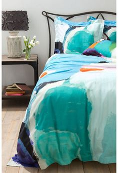 abstract and color combination looks great, modern duvet covers by Anthropologie, #bedroom, #interiors
