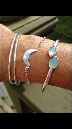 Sterling Silver Aqua Green Chalcedony Bracelet - Gemstone Jewelry by CopperfoxGemsJewelry on Etsy