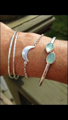 Sterling Silver Aqua Green Chalcedony Bracelet - Gemstone Jewelry by CopperfoxGemsJewelry on Etsy