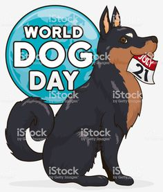 Cute Dog with Loose-leaf Calendar Waiting for World Dog Day Free Vector Art, Image Now, Dog Days, Dog Breeds, Cute Dogs, Oriental, Waiting, Calendar, World