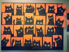 Halloween cats in Halloween colours