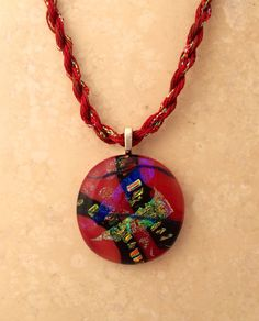 Reddish Dichroic Glass Pendant with  a matching by 3DGlassDesigns