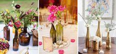 Com garrafas e potes de vidro, é possível criar arranjos de mesa para todos os gostos. Opte pela bebida com a estrutura que mais combina com seu estilo e escolha as flores. Se necessário, customize as garrafas – observe como pintá-las de dourado podem imprimir um tom mais chic à décor.