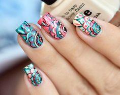 Color For Nails, Gel Nail Polish Colors, Nail Colors, Picture Polish, Nail Art Hacks, Nail Art Diy, Nail Art Mandala, Evil Eye Nails, Jolie Nail Art