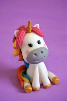 Fondant unicorn cake topper, horse cake topper, rainbow unicorn, handmade cake topper, custom cake decoration, kid birthday, topper for girl