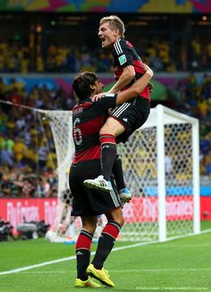Sami Khedira and Toni Kroos celebrating Toni's goal during the match against Brazil