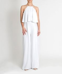 This bright while jumpsuit is cut from cotton-blended material for breeziness and comfort. Slim straps add floating accents to this simple, elegant find. Fashion Blogs, White Jumpsuit, Jumpsuits For Women, Slim, Elegant, Cotton, Beauty, Dresses, Classy