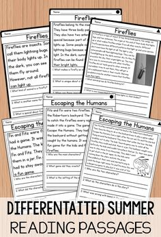 3 levels of differentiated reading passages for summer- nonfiction and fiction stories included for 7 different summer topics