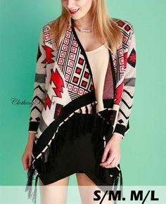 Red White Black Aztec Navajo Print Long Sleeve Open Front Knit Cardigan Sweater #ClothingBucket #Cardigan
