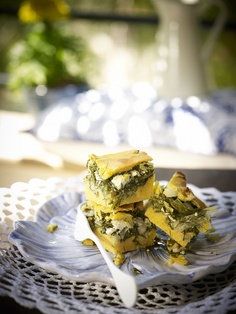 {<3} Greek pie with greens, feta cheese and corn,
