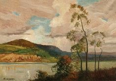 Sydney Long (1871-1955) Australian Artist. landscape Painting, Approaching Storm