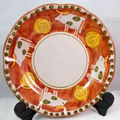 """Vietri Campagna Solimene Rust Cow Italy 8"""" Round Plate Majolica Oxen   eBay"""