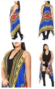 59f8c9ef6d1 New Plus Size Blue Dashiki Fringe African Print Vest One Size