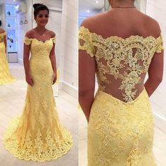 Yellow Trumpet Off-shoulder Lace Prom Dress Evening Gown with Scalloped Train $179.00