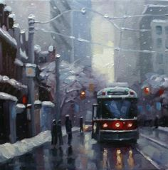 """""""Snowfall on Queen"""" - Original Fine Art for Sale - ©Catherine Jeffrey Oil Painting Pictures, Oil Painting On Canvas, Canvas Art, Toronto Photography, Toronto Travel, Street Painting, Examples Of Art, Funky Art, Glitter Houses"""