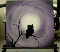 Owl Silhouette Painting by PaintingsForCharity on Etsy, $25.00