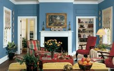 living room ideas grey blue wood red - Google Search