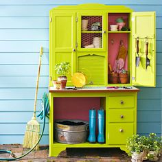 Lime Green Garden Center! Transform an armoire into a potting center that meets every need your green thumb could have. Start with an unfinished armoire, or salvage one from a garage sale or secondhand store. Paint the entire piece. Replace drawer hardware with knobs that fit the theme, and staple wire mesh into the door openings. Add shelves to the cabinet interior as needed for bins and pots.
