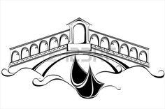 Paysage De Venise Avec Gondoles Bateau Et Le Pont Clip Art Libres De Droits , Vecteurs Et Illustration. Image 16947799.