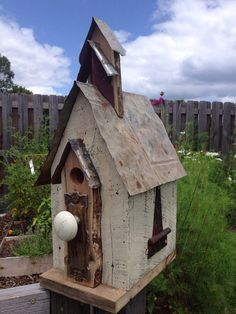 Reclaimed barnwood birdhouse with tin roof by TheSouthFields