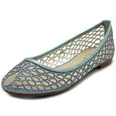 Fab Shoes, Blue Shoes, Slippers For Girls, Cute Flats, Bridal Style, Ballet Flats, Mesh, Glitter, My Favorite Things